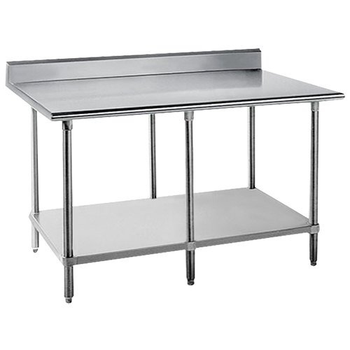 "Advance Tabco KMS-2412 24"" x 144"" 16 Gauge Stainless Steel Commercial Work Table with 5"" Backsplash and Undershelf"