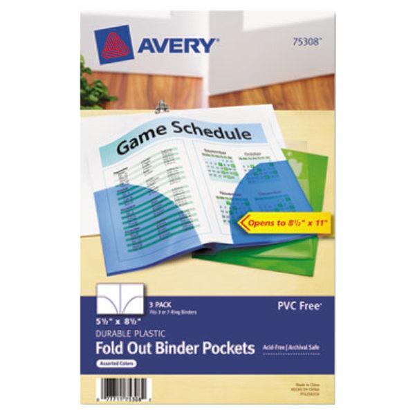 "Avery 75308 5 1/2"" X 8 1/2"" Mini Assorted Binder Pocket"