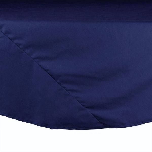 "90"" Navy Round Hemmed Polyspun Cloth Table Cover"
