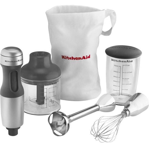 """Kitchenaid Hand Blender khb2351cu contour silver 3 speed hand blender with 8"""" shaft, jar"""