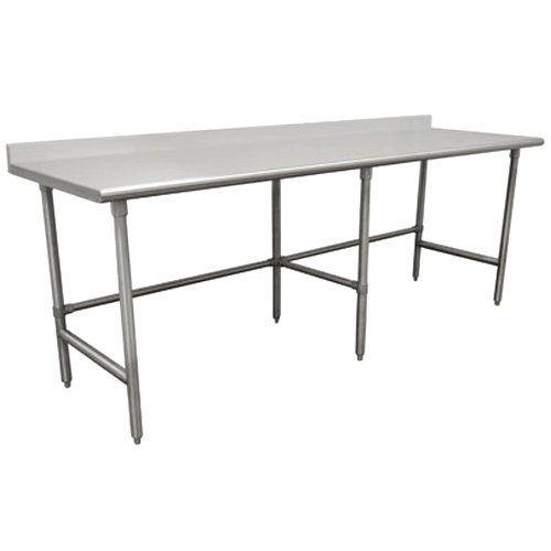 "Advance Tabco TFSS-3610 36"" x 120"" 14 Gauge Open Base Stainless Steel Commercial Work Table with 1 1/2"" Backsplash"