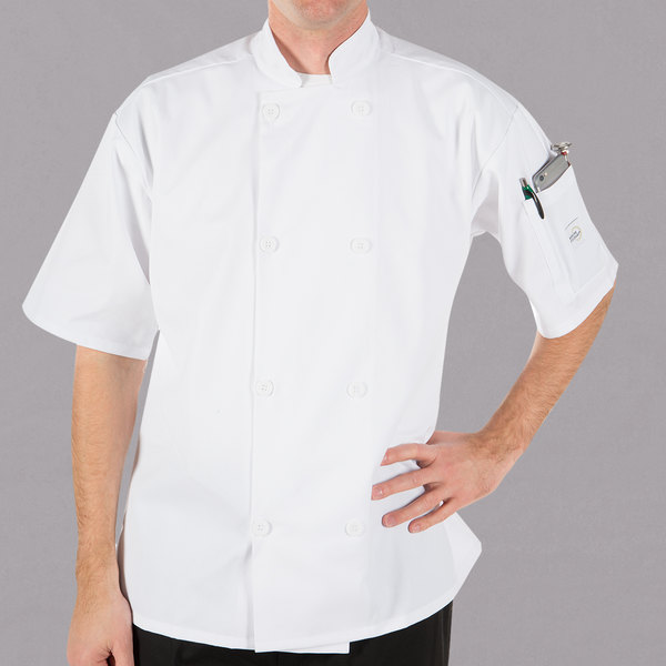Mercer Culinary Millennia® M60013 Unisex White Customizable Short Sleeve Cook Jacket - 2X Main Image 0