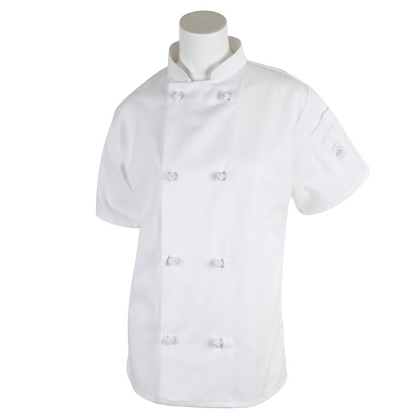 "Mercer M60024WH1X Millennia Women's 41"" 1X Customizable White Double Breasted Short Sleeve Cook Jacket with Cloth Knot Buttons"