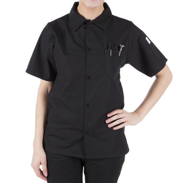 Mercer Culinary Millennia® M60200 Black Unisex Customizable Air Short Sleeve Cook Shirt with Full Mesh Back - 1X Main Image 0