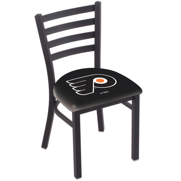 Holland Bar Stool L00418PhiFly-B Black Steel Philadelphia Flyers Chair with Ladder Back and Padded Seat