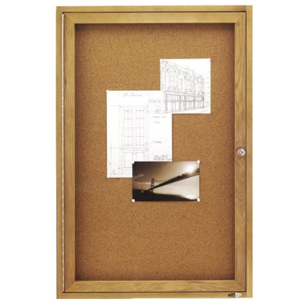 Quartet 363 24 X 36 Enclosed Cork Board With Oak Frame