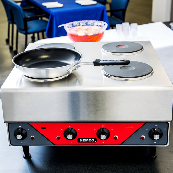 nemco electric countertop raised hot plate with 4 solid burners 240v