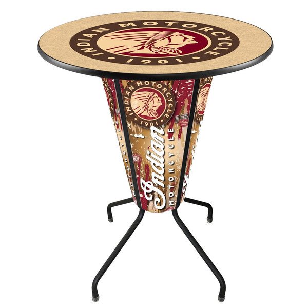 "Holland Bar Stool L218B42Indian1P-36RIndn-HD Indian Motorcycle 36"" Round Bar Height LED Pub Table"
