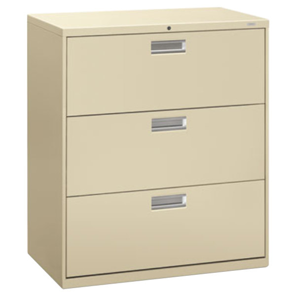 hon vertical file cabinet hon 683ll 600 series putty three drawer lateral filing 16595