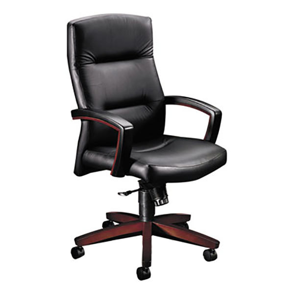 Main Picture  sc 1 st  WebstaurantStore & HON 5001NSS11 5000 Series Black Leather High Back Executive Swivel ...
