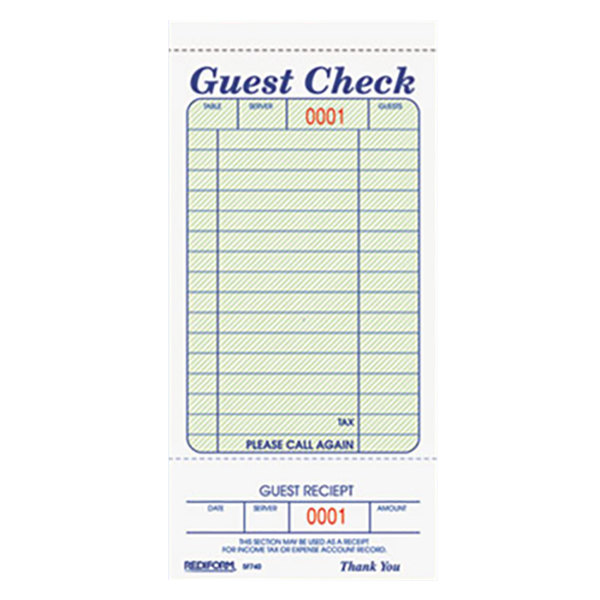 Allstate Check: Rediform 5F740 1 Part Green And White Guest Check With