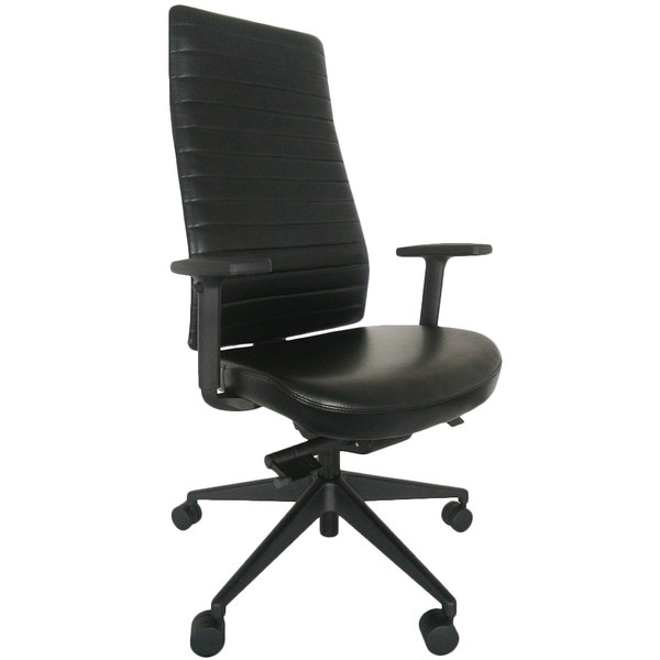 Office Chairs Adjustable Arms seating le800blklaa1 frasso black leather high back synchro tilt