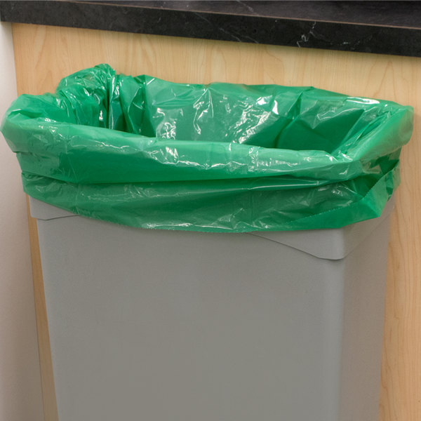 "45 Gallon Recycled 1.25 Mil 40"" X 46"" Low Density Trash Can Liner / Bag - 100/Case"