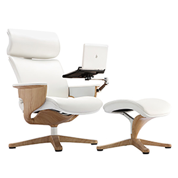 Eurotech Seating NUVEMWHT Nuvem White Leather Lounge Office Chair - White leather lounge chair
