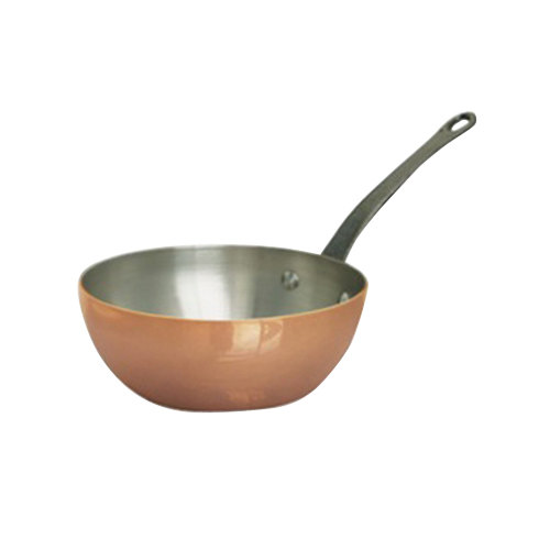 De Buyer 6464.16 1 Qt. Tapered Bombe Copper Saute Pan with Cast Iron Handle