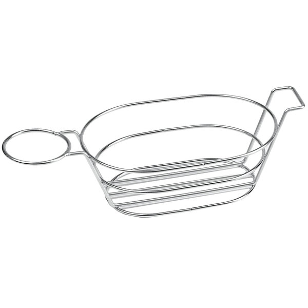 "Clipper Mill by GET 4-88701 13 3/4"" x 6"" Stainless Steel Oval Basket with Handle and One Ramekin Holder"