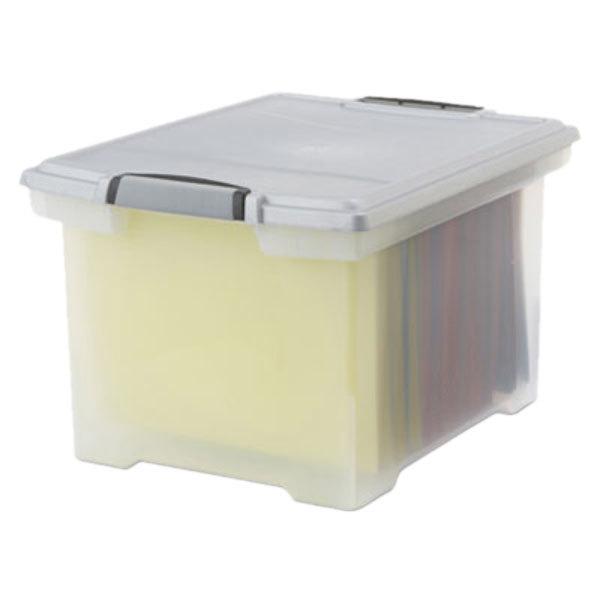 Storex 61530U01C Clear Plastic Portable Letter Legal File Storage
