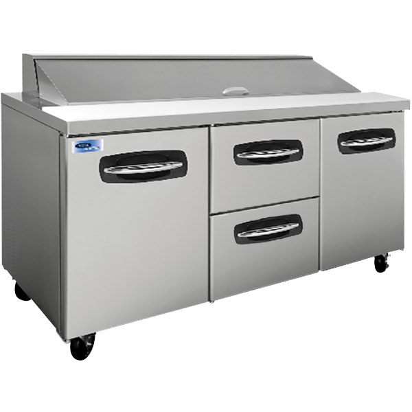 "Nor-Lake NLSP72-18-004 AdvantEDGE 72 3/8"" 2 Door 2 Drawer Refrigerated Sandwich Prep Table"