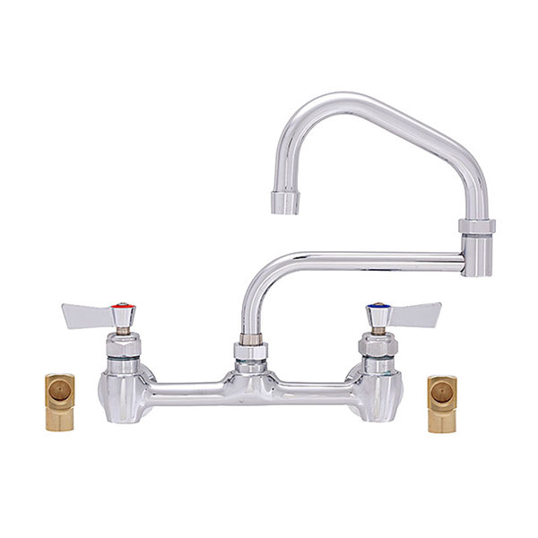 "Fisher 55565 Backsplash Mounted Faucet with 8"" Centers, 15"" Double-Jointed Swing Nozzle, 2.20 GPM Aerator, Lever Handles, and Elbows"