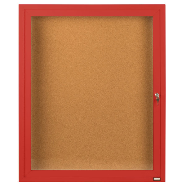 "Aarco DCC3630RR 36"" x 30"" Enclosed Hinged Locking 1 Door Powder Coated Red Finish Indoor Bulletin Board Cabinet"