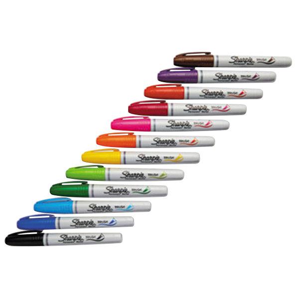 sharpie 1810704 assorted 12 color brush tip permanent marker set. Black Bedroom Furniture Sets. Home Design Ideas