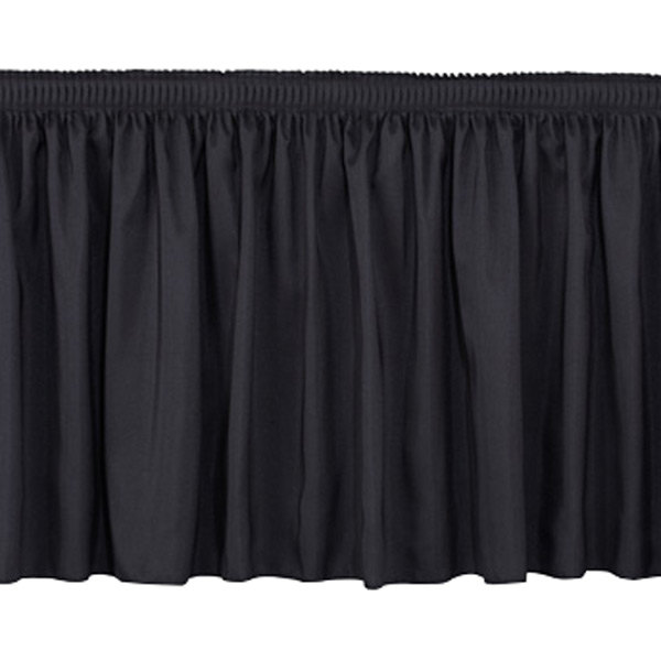 "National Public Seating SS24 Black Shirred Stage Skirt for 24"" Stage"