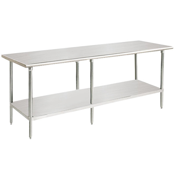 "Advance Tabco SAG-3611 36"" x 132"" 16 Gauge Stainless Steel Commercial Work Table with Undershelf"