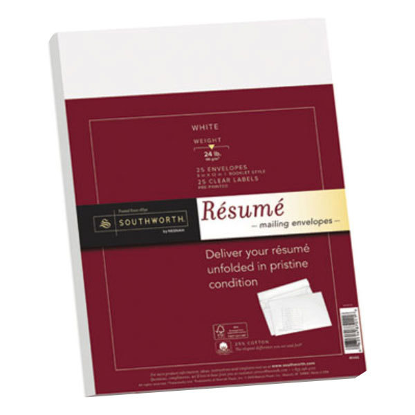 southworth rf6q 9 x 12 white 25 cotton resume envelope with