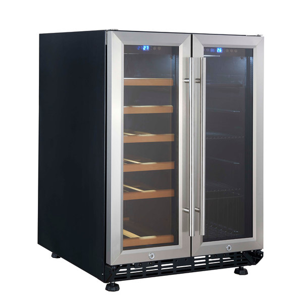 eurodib usf36b dual section dual temperature full glass door wine - Under Counter Wine Cooler