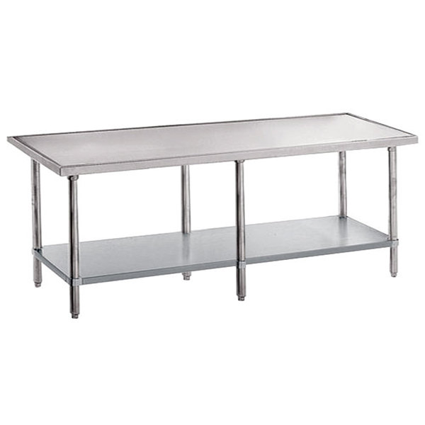 "Advance Tabco VSS-249 24"" x 108"" 14 Gauge Stainless Steel Work Table with Stainless Steel Undershelf"