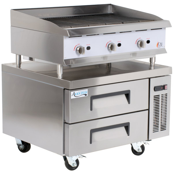 Cooking Performance Group 36CBRRBNL 36 inch Gas Radiant Charbroiler with 2 Drawer Refrigerated Chef Base - 120,000 BTU
