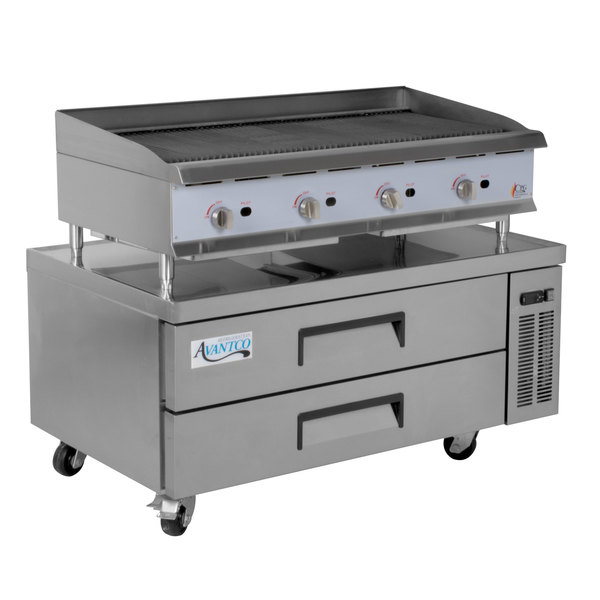 Cooking Performance Group 48CBRRBNL 48 inch Gas Radiant Charbroiler with 2 Drawer Refrigerated Chef Base - 160,000 BTU