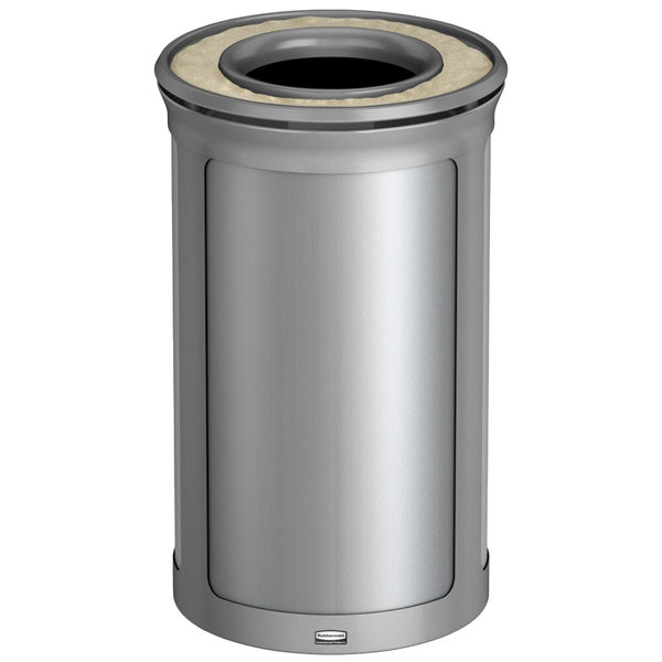 rubbermaid enhance 15 gallon brushed stainless round trash can with ash tray and stardust silver frame