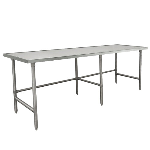 "Advance Tabco Spec Line TVLG-2410 24"" x 120"" 14 Gauge Open Base Stainless Steel Commercial Work Table"