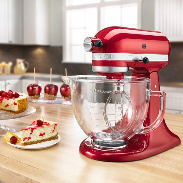 kitchenaid ksm155gbca candy apple red premium metallic series 5 qt countertop mixer