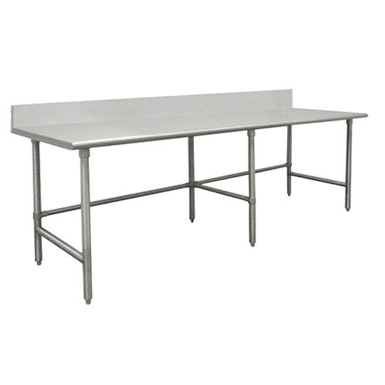 "Advance Tabco TVKG-308 30"" x 96"" 14 Gauge Open Base Stainless Steel Commercial Work Table with 10"" Backsplash"