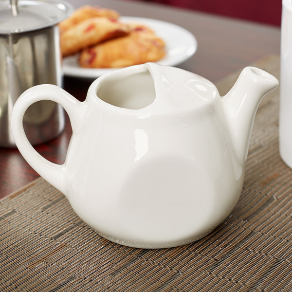 Tuxton BET-1001 DuraTux Healthcare 10 oz. Ivory (American White) China Tea Pot Without Lid - 6/Case