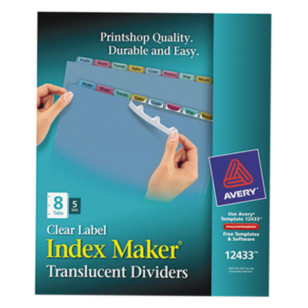 Avery 12433 Index Maker 8 Tab Multi Color Plastic Clear Label