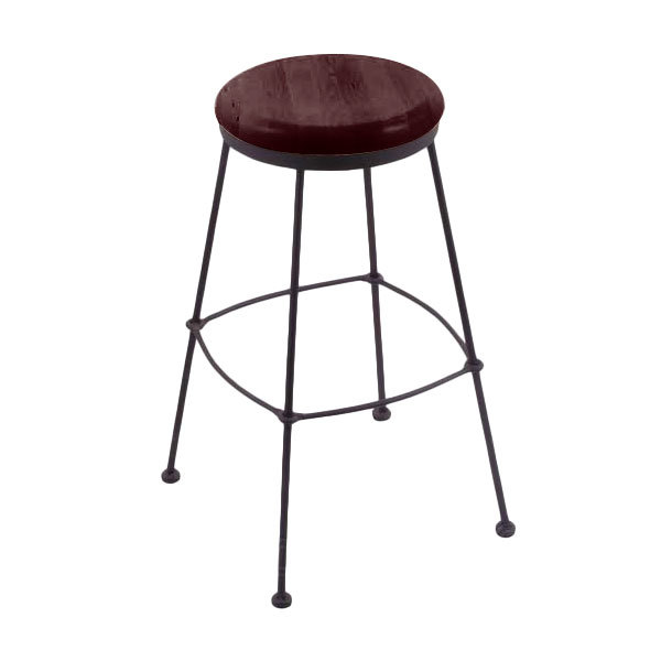 Awe Inspiring Holland Bar Stool 303025Bwdcmpl Black Wrinkle Steel Counter Height Stool With Dark Cherry Maple Wood Seat Bralicious Painted Fabric Chair Ideas Braliciousco