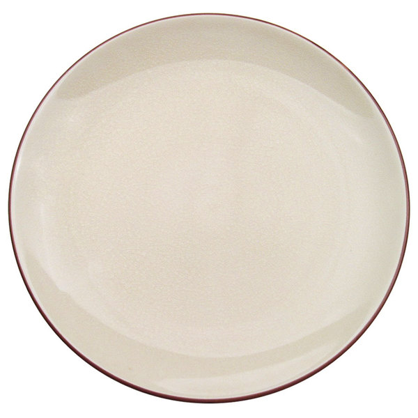 "CAC 666-21-W Japanese Style 12"" China Coupe Plate - Black Non-Glare Glaze / Creamy White - 12/Case"