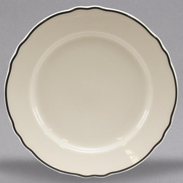Homer Laughlin By Steelite International Hl548847 Styleline Black 10 5 8 Scalloped China Plate 12 Case