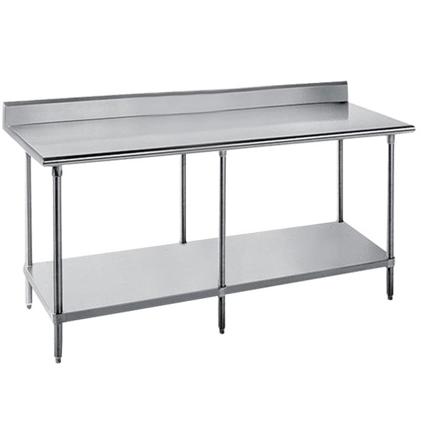 "Advance Tabco SKG-3011 30"" x 132"" 16 Gauge Super Saver Stainless Steel Commercial Work Table with Undershelf and 5"" Backsplash"