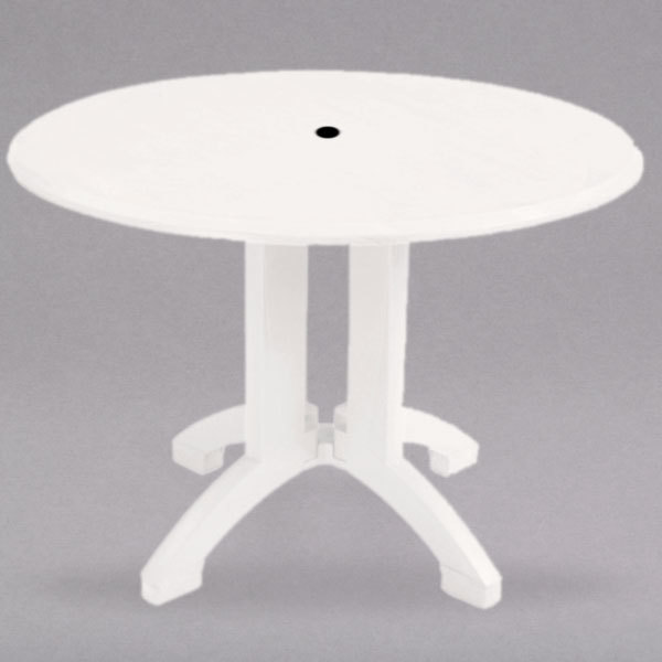 Molded Plastic Patio Furniture.Grosfillex Us239004 Atlanta 42 White Round Molded Melamine Outdoor Table With Umbrella Hole
