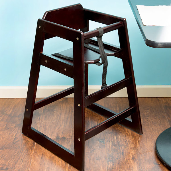 table seating stacking restaurant wood high chair with dark