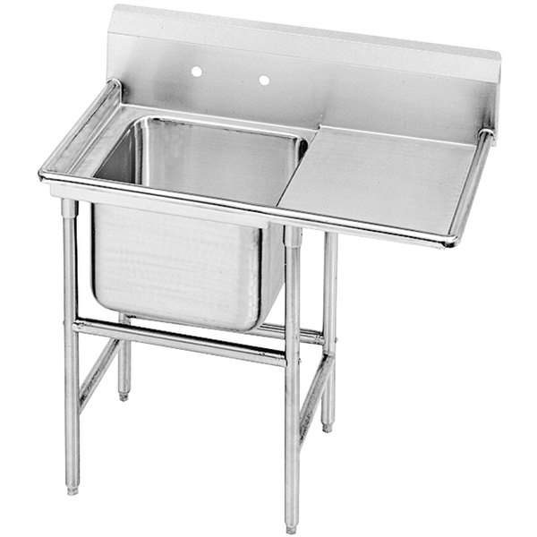 Right Drainboard Advance Tabco 94-81-20-24 Spec Line One Compartment Pot Sink with One Drainboard - 50""