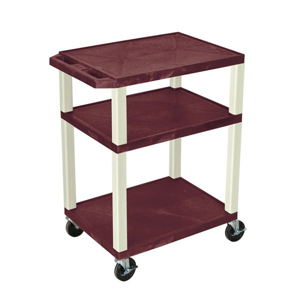 "Luxor / H. Wilson WT34BYE Burgundy Tuffy AV Cart - 3 Shelf, 24"" x 18"" x 34"""
