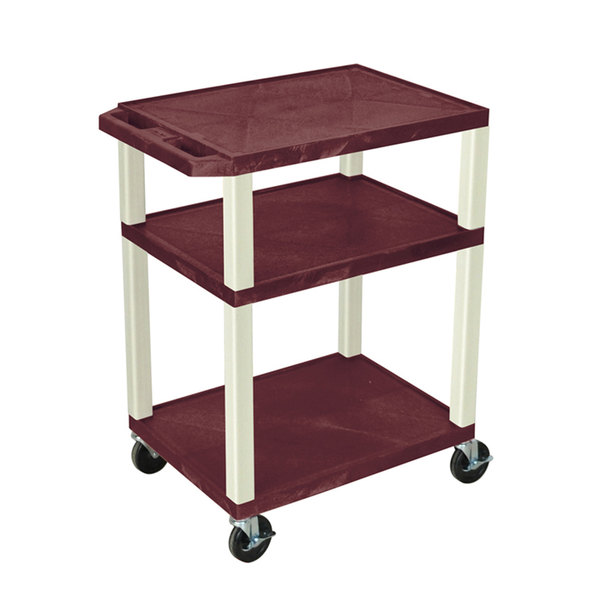 "Luxor WT34BYE Burgundy Tuffy AV Cart - 3 Shelf, 24"" x 18"" x 34"""