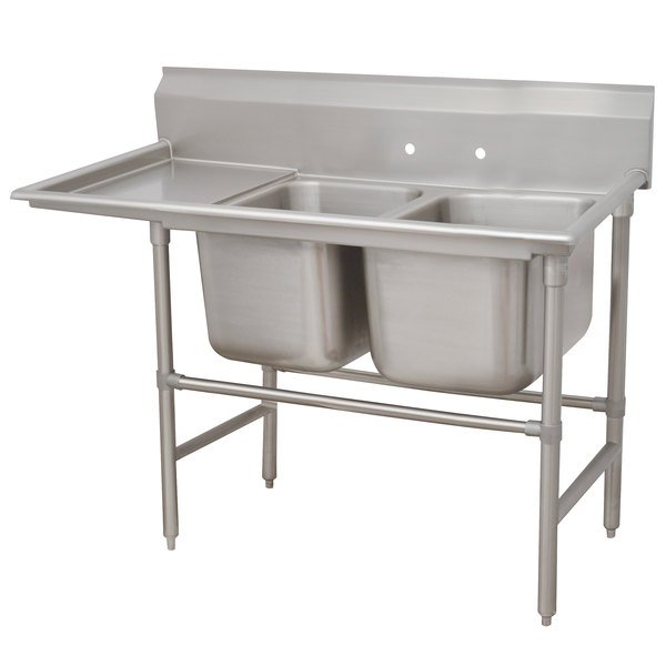 Left Drainboard Advance Tabco 94-82-40-36 Spec Line Two Compartment Pot Sink with One Drainboard - 84""