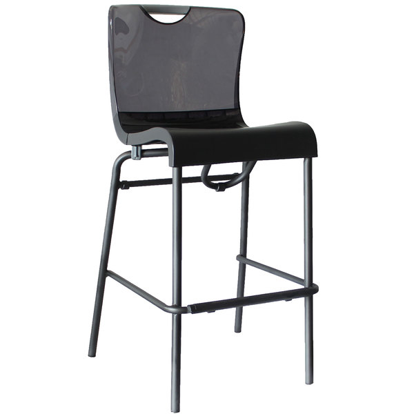 check out 1d8f8 22925 Grosfillex US229208 / US922208 Krystal Resin Stackable Barstool with Smoke  Back and Charcoal Seat