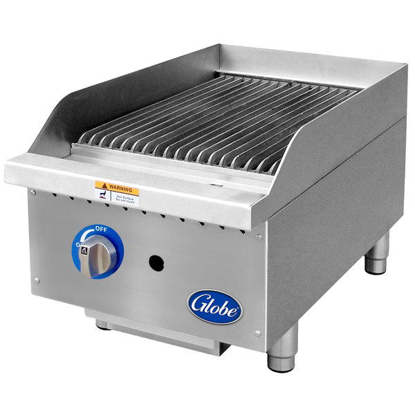 "Globe GCB15G-SR 15"" Gas Charbroiler with Stainless Steel Radiants - 40,000 BTU"